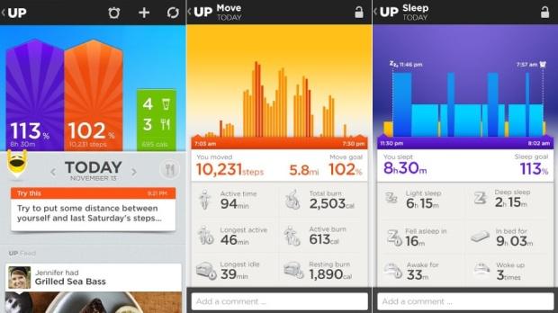 Ecrans de l'application smartphone Jawbone Up